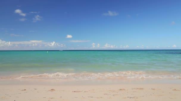 Szabadság, gondtalan boldog asszony pihen a trópusi strandon. Karibi vakáció a szigeten.