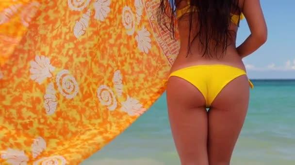 Letní plážový prázdniny. Sexy bezstarostně ženské tělo v bikinách a šálu. Bílý písek, modrá obloha a křišťálově průzračné moře tropického ostrova. Svátek v ráji