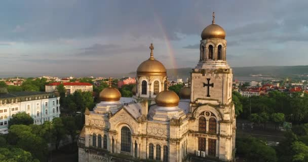 Aerial view over Varna, Bulgaria and The Cathedral of the Assumption, aerial drone view