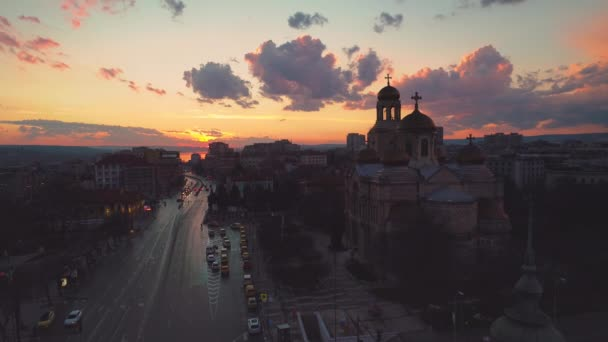 Aerial view of The Cathedral of the Assumption in Varna, Bulgaria. Sunset shot.