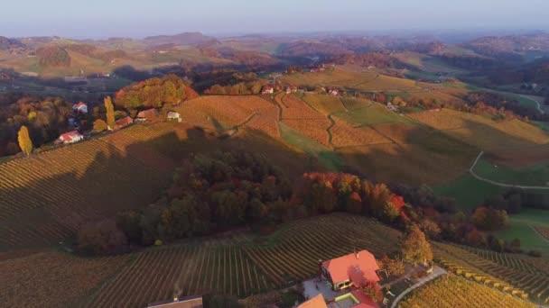 Tájkép őszi szőlőültetvényekkel és mezőkkel Toszkána szívében, Olaszországban