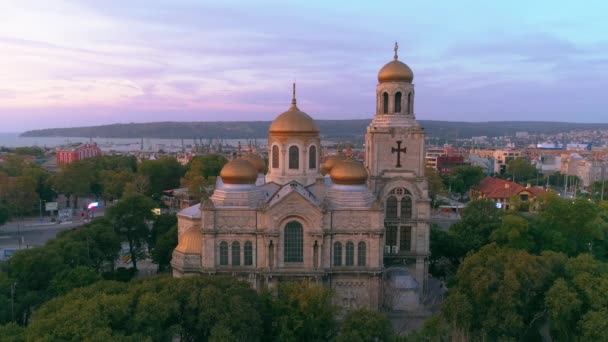 Varna cityscape, aerial view over the city and The Cathedral of the Assumption