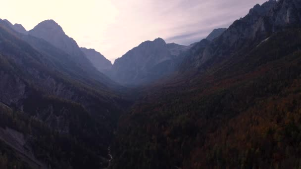 Mountain view of Alpine peaks and forest and sunset sky