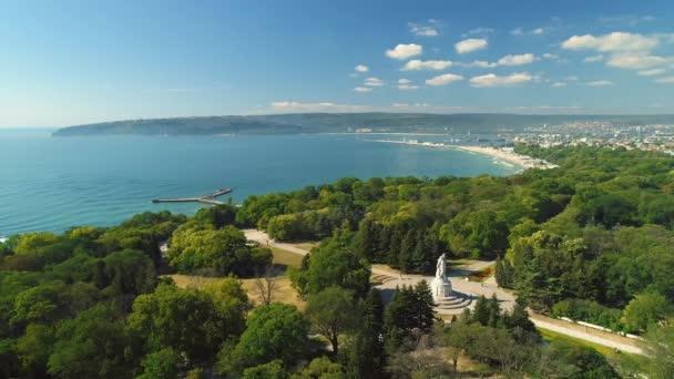 Cityscape over Sea garden park in Varna, Bulgaria. Aerial view toward Black sea coast.