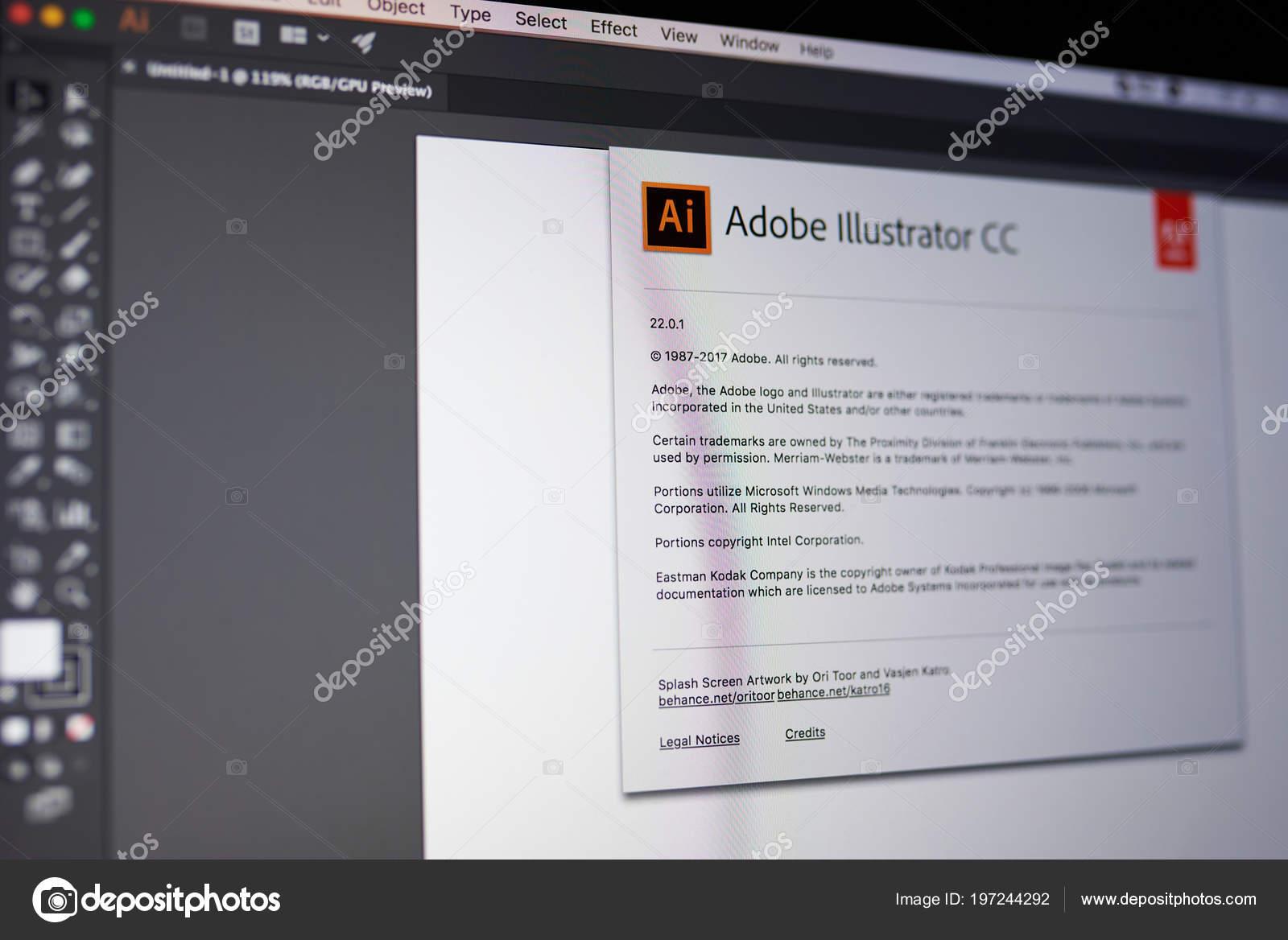Menu de Adobe illustrator — Fotografia de Stock Editorial