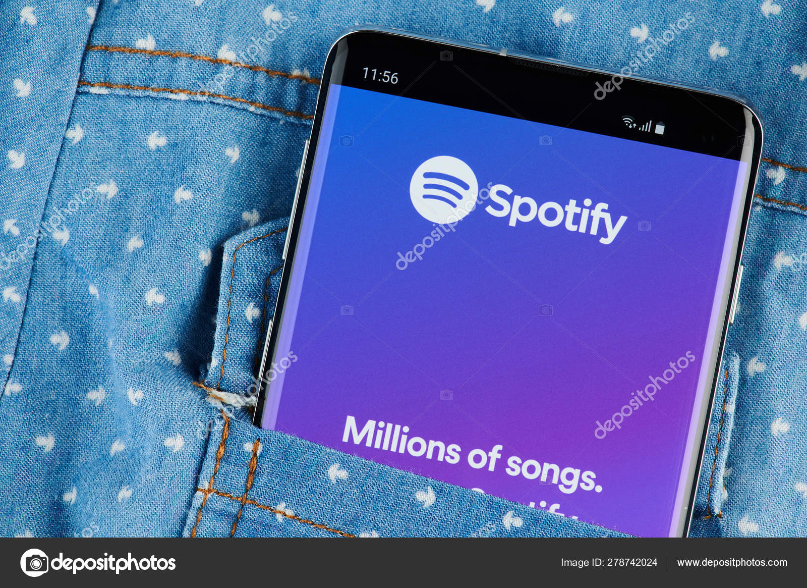 Spotify application on smartphone – Stock Editorial Photo