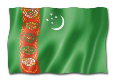 Turkmenistan flag, three dimensional render, isolated on white