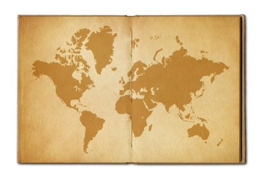 Vintage world map printed on an old open book stock vector