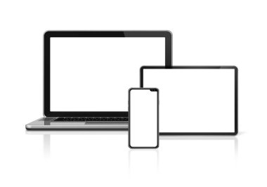 Laptop, tablet and phone set mockup isolated on white background with blank screens. 3D render stock vector
