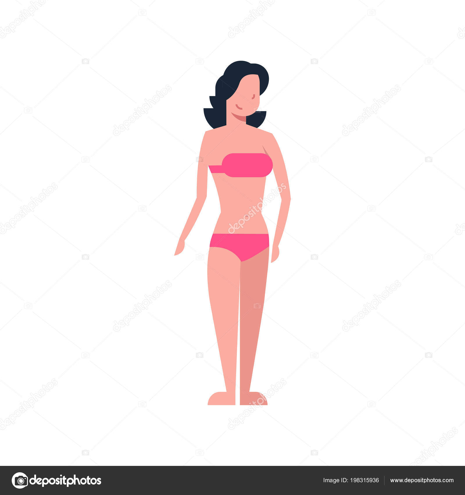 96e3e07c25d Bikini woman standing yellow swimsuit on white background body shape  concept flat style vector illustration — Vector by ...
