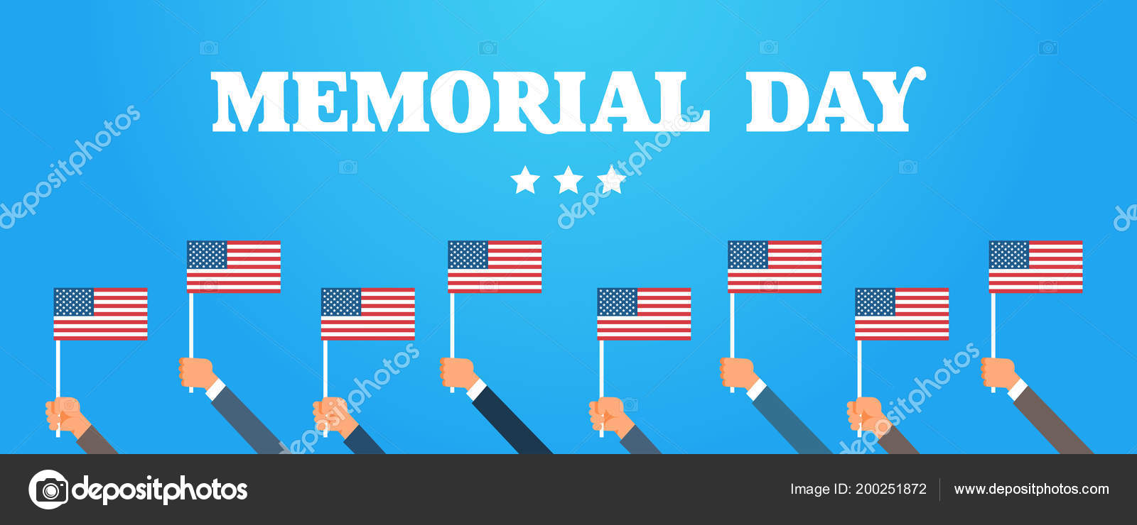 Memorial Day USA Greeting Card Wallpaper Hands Hold National American Flag With Stars On Blue Background Flat Design Vector Illustration By