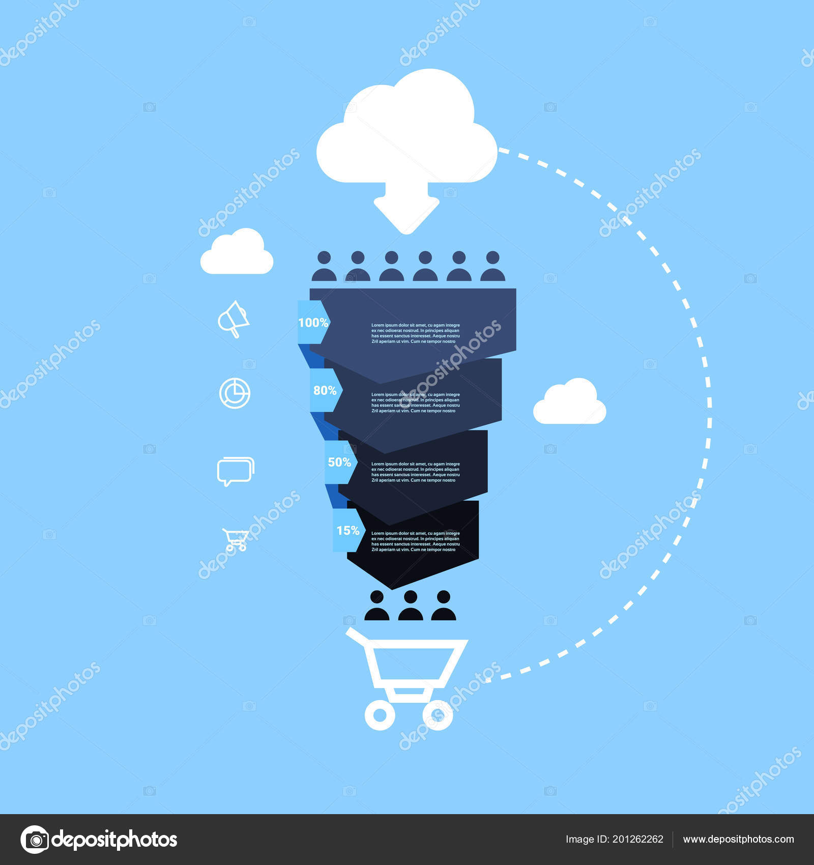 Sales Funnel With People Icon Online Cloud Shopping Cart Stages Diagram Business Infographic Purchase Concept