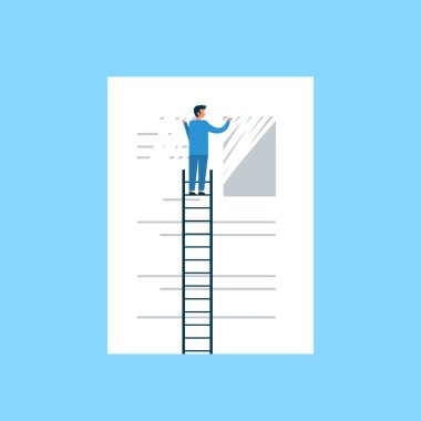 businessman erasing information clear data concept man on ladder delate info flat blue background