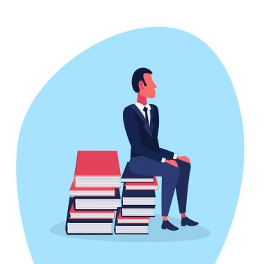 casual man sitting book stack brainstorming concept student education process male cartoon character flat