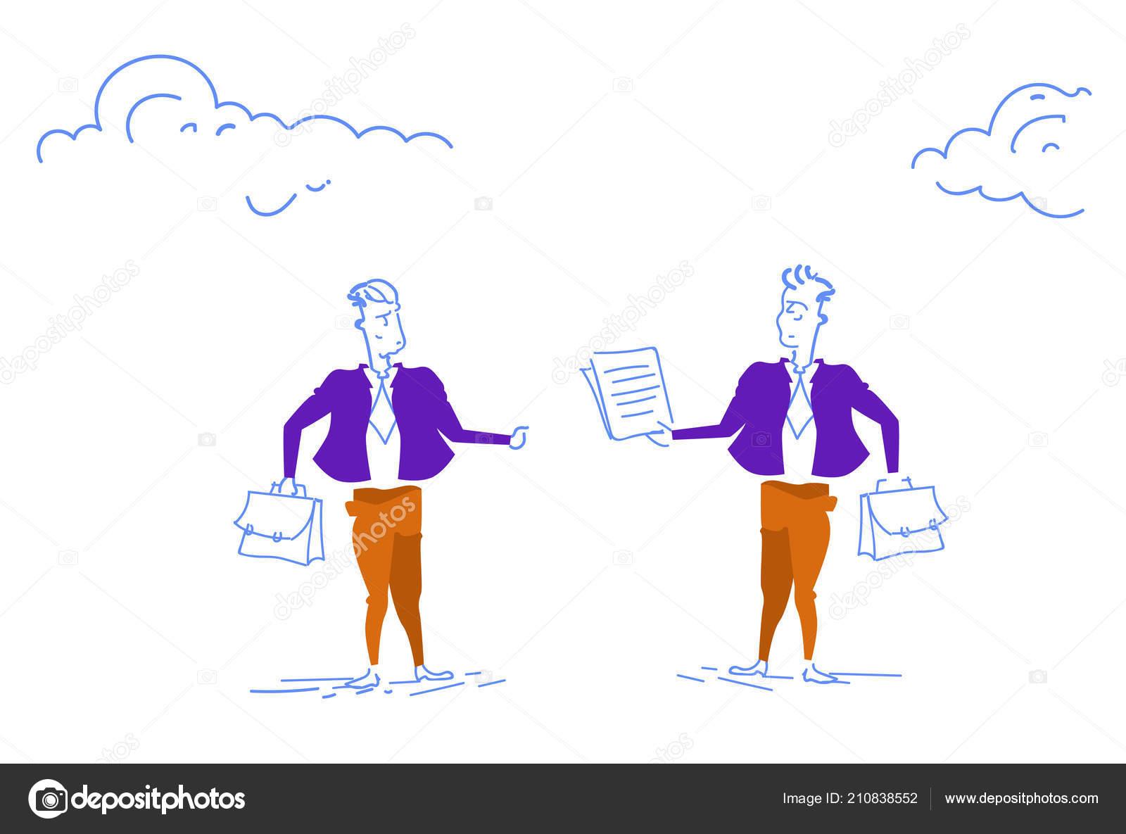 Unternehmer Geben Eine Andere Geschäftsmann Dokument Vertrag