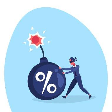 Businessman blind pushing percent bomb credit debt finance crisis risk concept cartoon character flat vector illustration