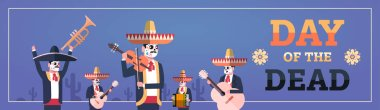 day of dead traditional mexican halloween dia de los muertos holiday party decoration men wearing skeleton masks playing musical instruments horizontal banner invitation greeting card flat