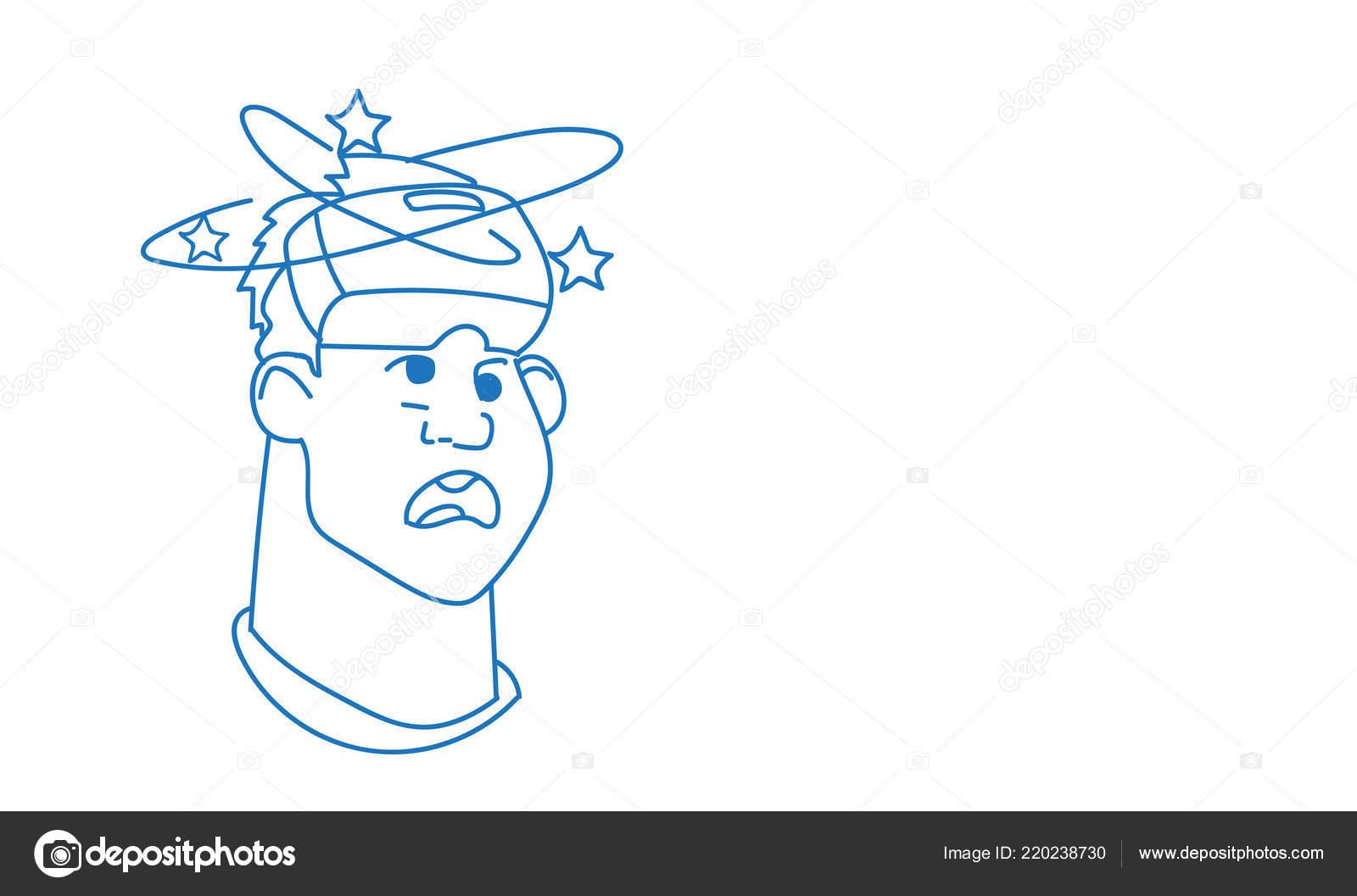 Man dizzy male emoji wearing 3d virtual reality glasses emotion avatar facial expression sketch doodle horizontal