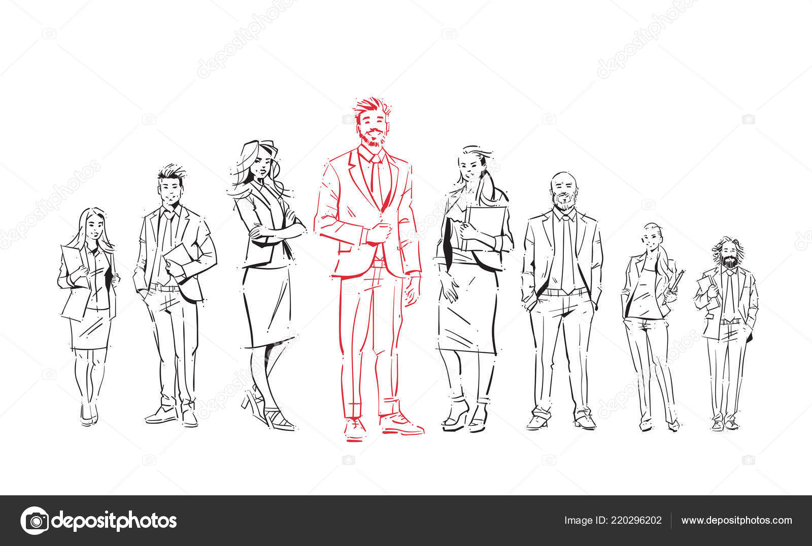 Sketch businesspeople team stay on white background, leader in front