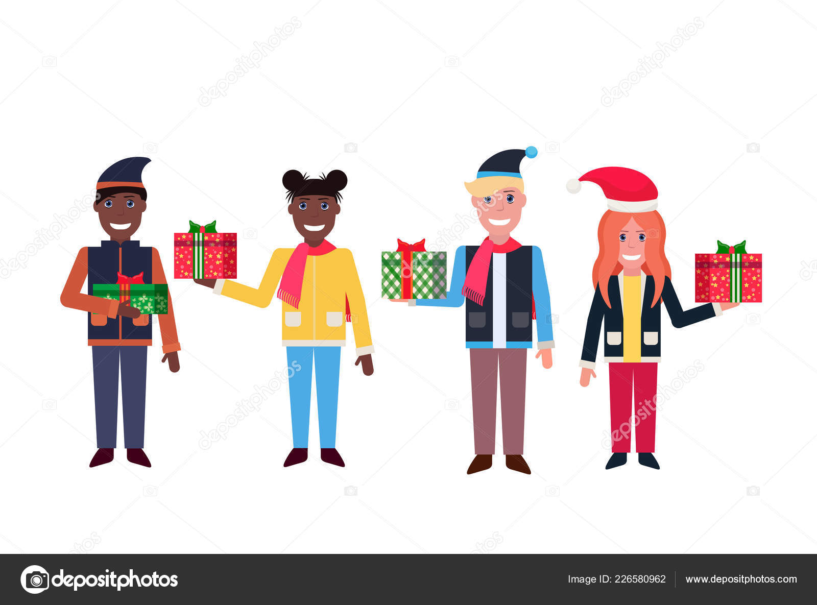 ae28a3bc ... isolated horizontal– stock illustration. Mix race people hold present  gift box happy new year merry christmas concept male female cartoon