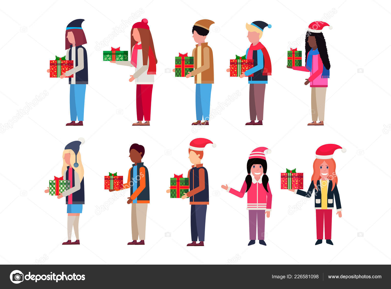c603e5c0 ... isolated horizontal– stock illustration. Set men women hold wrapped  gift box present happy new year merry christmas concept male female