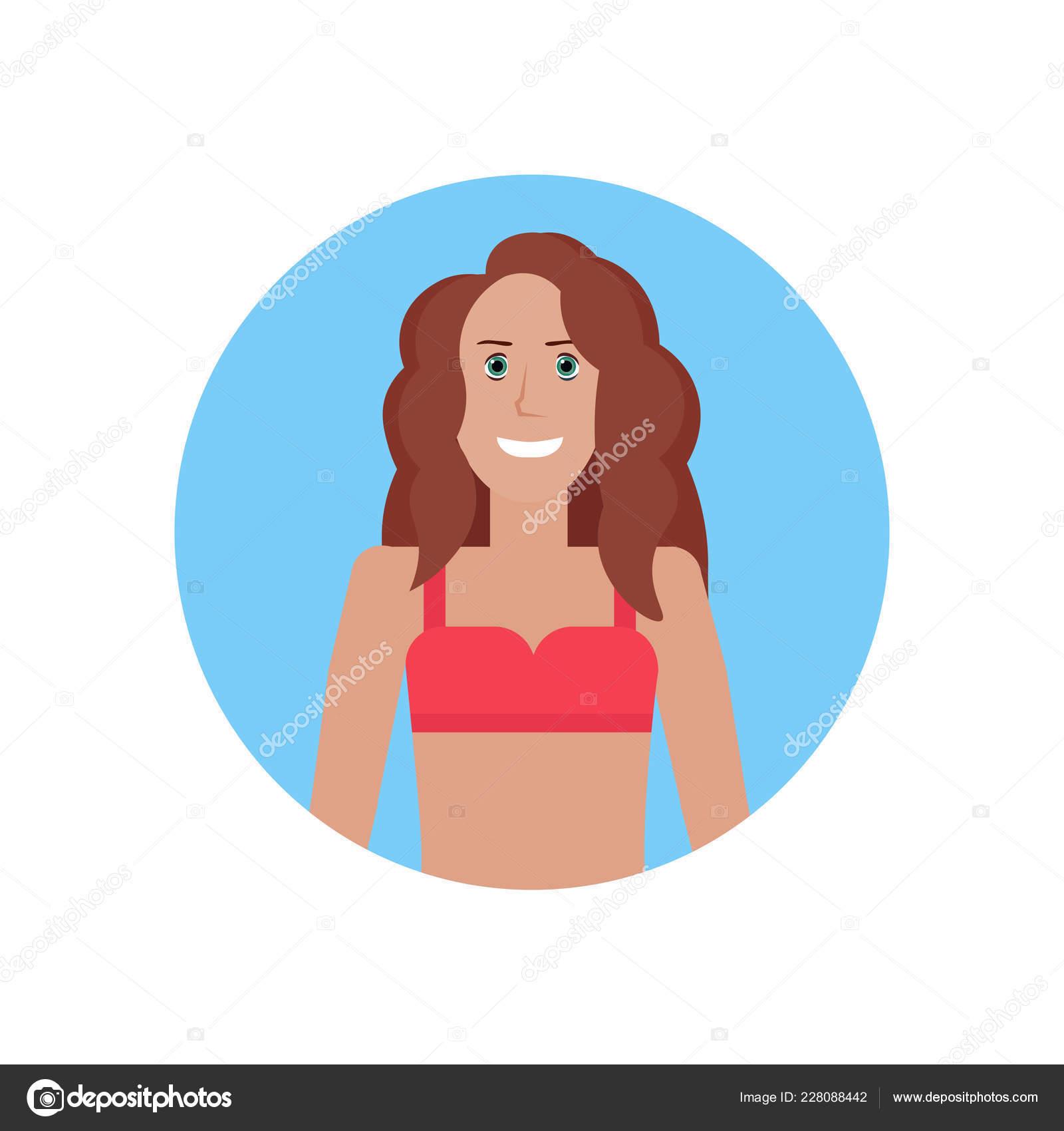 Bikini Jeune Femme Visage Avatar Fille En Maillot De Bain