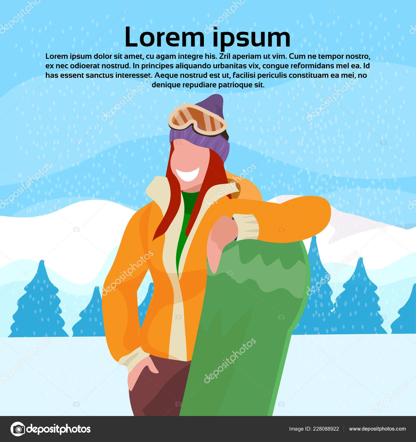 Heureuse Femme Tenant Snowboard Fille Hiver Vacances Activite