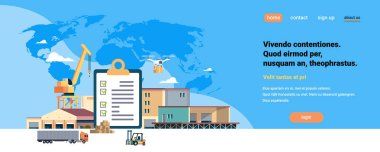 completed checklist clipboard crane semi trailer warehouse forklift machinery blue world map background international delivery industrial concept flat horizontal copy space