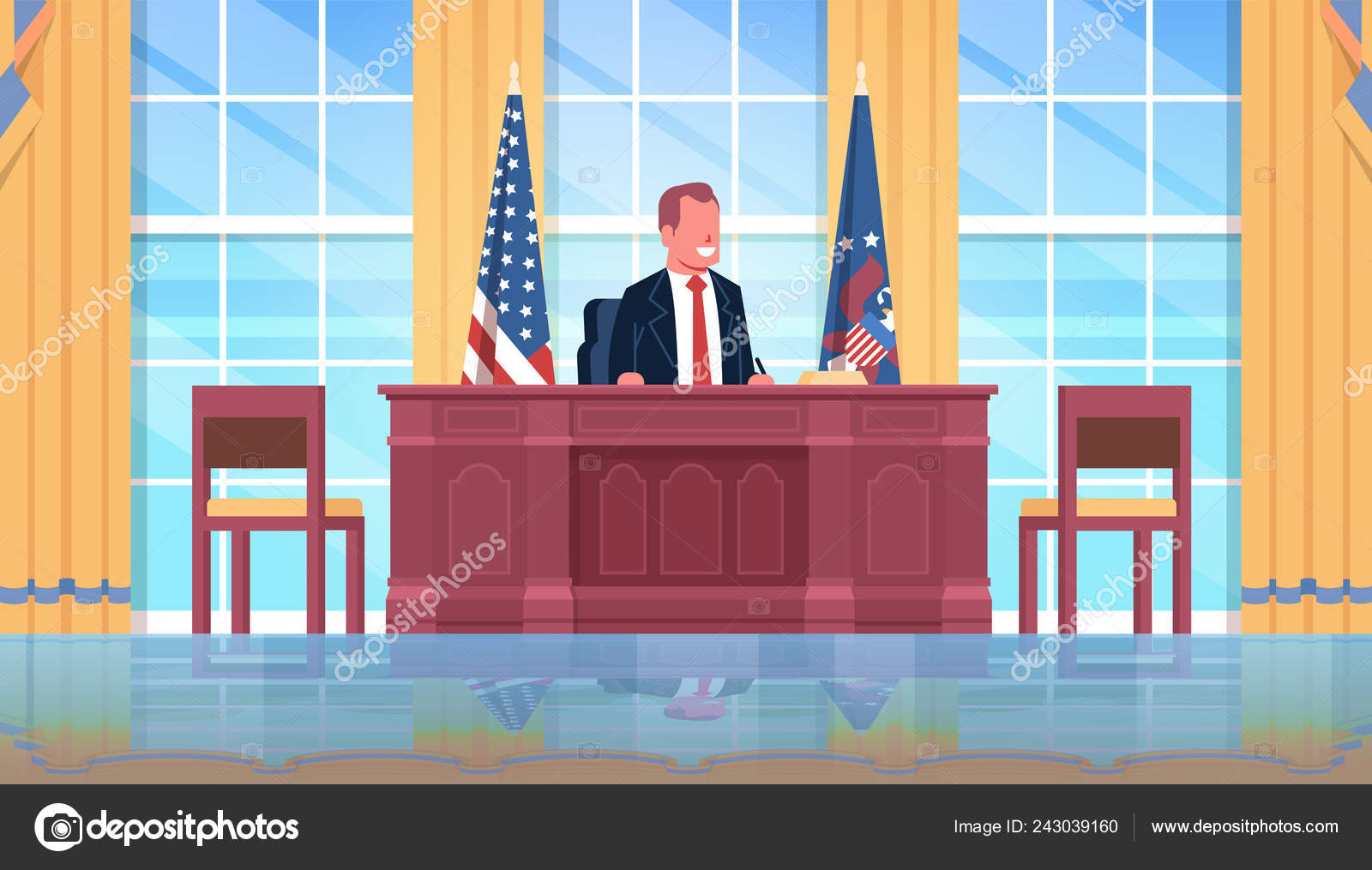 President Sitting Workplace Wooden Furniture Usa National Flag Oval Office White House Cabinet Interior Male Leader Of The United States Portrait Flat Horizontal Stock Vector C Mast3r 243039160