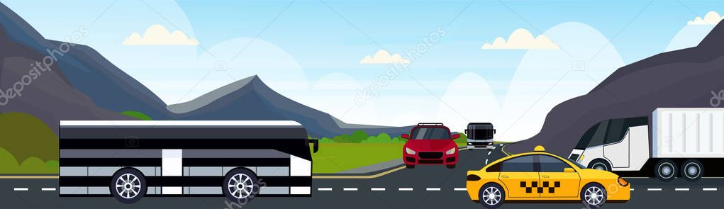 cars passenger bus and semi truck driving asphalt highway road and beautiful mountains natural landscape background horizontal banner flat