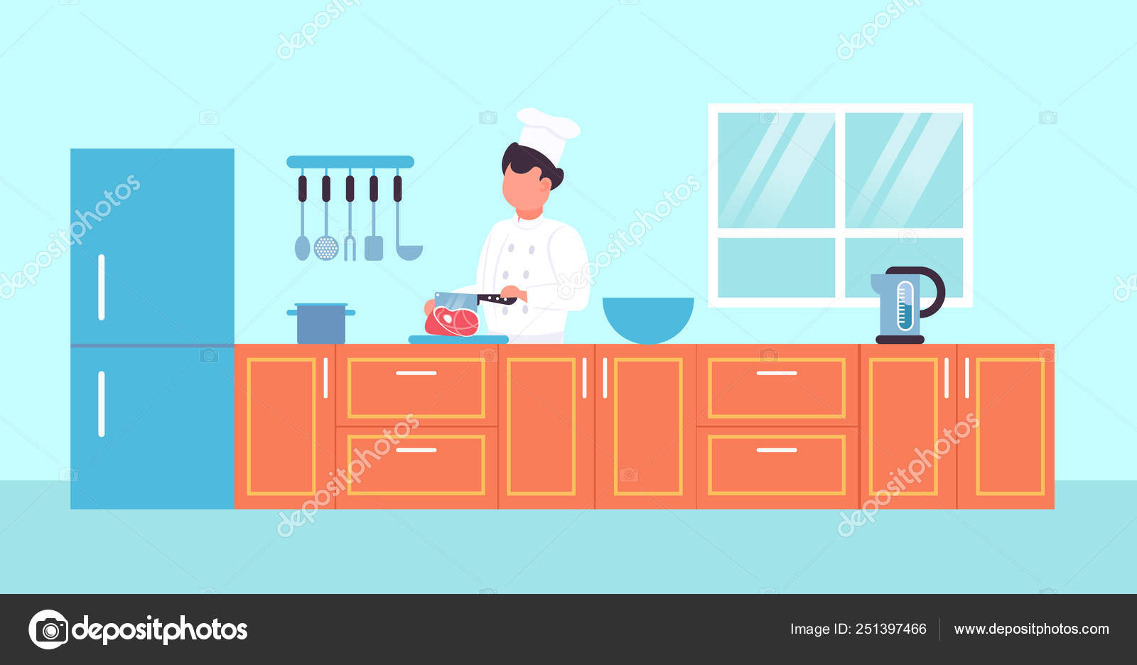 20baaab2 Male chef cutting pork meat with knife male restaurant worker in uniform  and hat cooking food concept modern kitchen interior horizontal portrait  flat ...