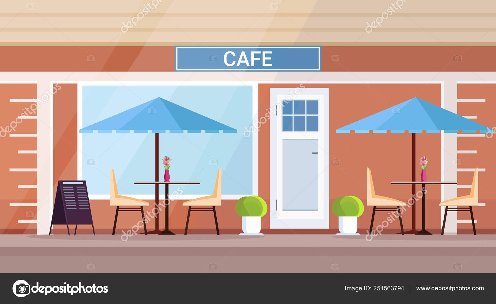 Modern Summer Cafe Shop Exterior Empty No People Street Restaurant Terrace Outdoor Cafeteria Flat Horizontal Stock Vector C Mast3r 251563794