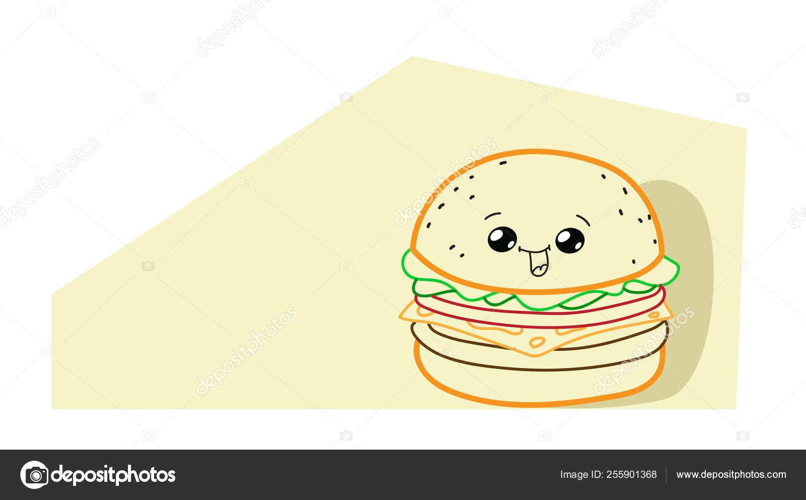 Cute Hamburger Cartoon Comic Character With Smiling Face Tasty
