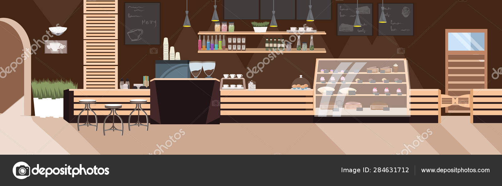 Modern Cafe Empty No People Restaurant With Furniture Coffee Shop Interior Flat Horizontal Stock Vector C Mast3r 284631712