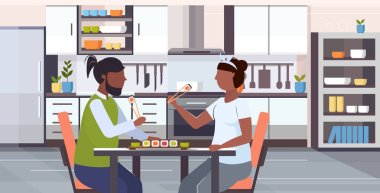 fat obese couple eating sushi unhealthy lifestyle concept african american overweight man woman sitting at table enjoying fast food modern kitchen interior flat portrait horizontal vector illustration