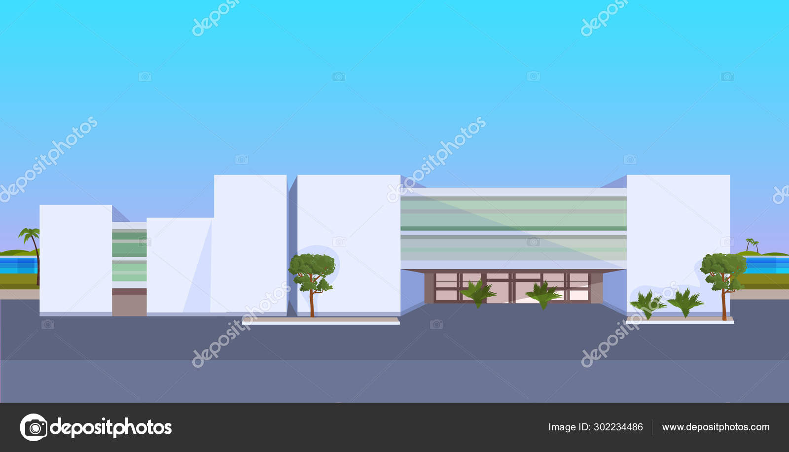 Modern Hotel Office Building Exterior Commercial Business Center Design Landscape Background Flat Horizontal Stock Vector C Mast3r 302234486