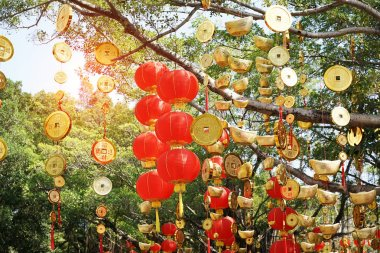 Tradition decoration lanterns of Chinese,calligraphy on coin tra