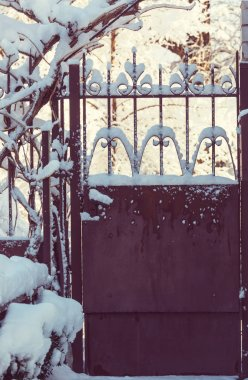Garden gate in winter season