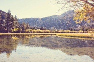 The beautiful lake in Autumn season stock vector