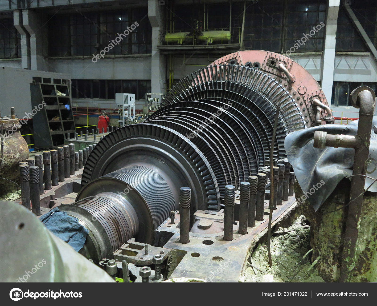 electric generator power plant combined cycle gas steam turbine disassembled steam turbine in the process of repairing an electric generator at power plant photo by arogant steam turbine process repairing electric generator