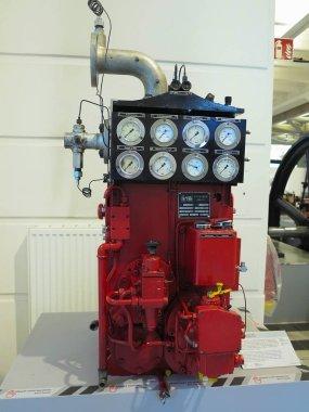 26.05.2018, Wien, Austria:Big old industrial rusty cast-iron industrial boiler heater in Vienna technical museum