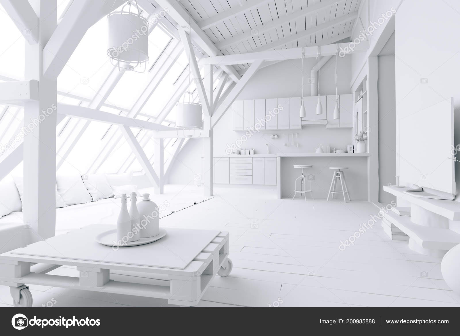 Home Interior White Render Stock Photo C Digitalgenetics 200985888