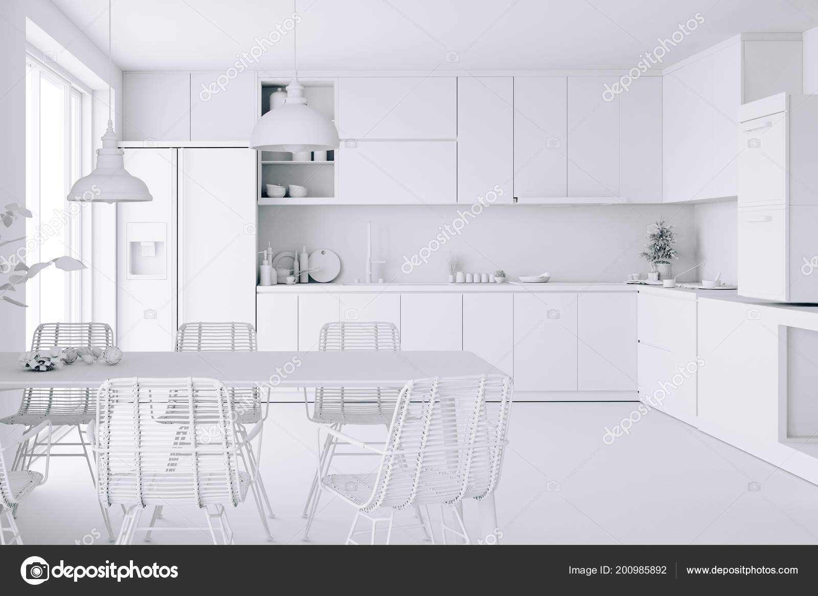 Home Interior White Render Stock Photo C Digitalgenetics 200985892