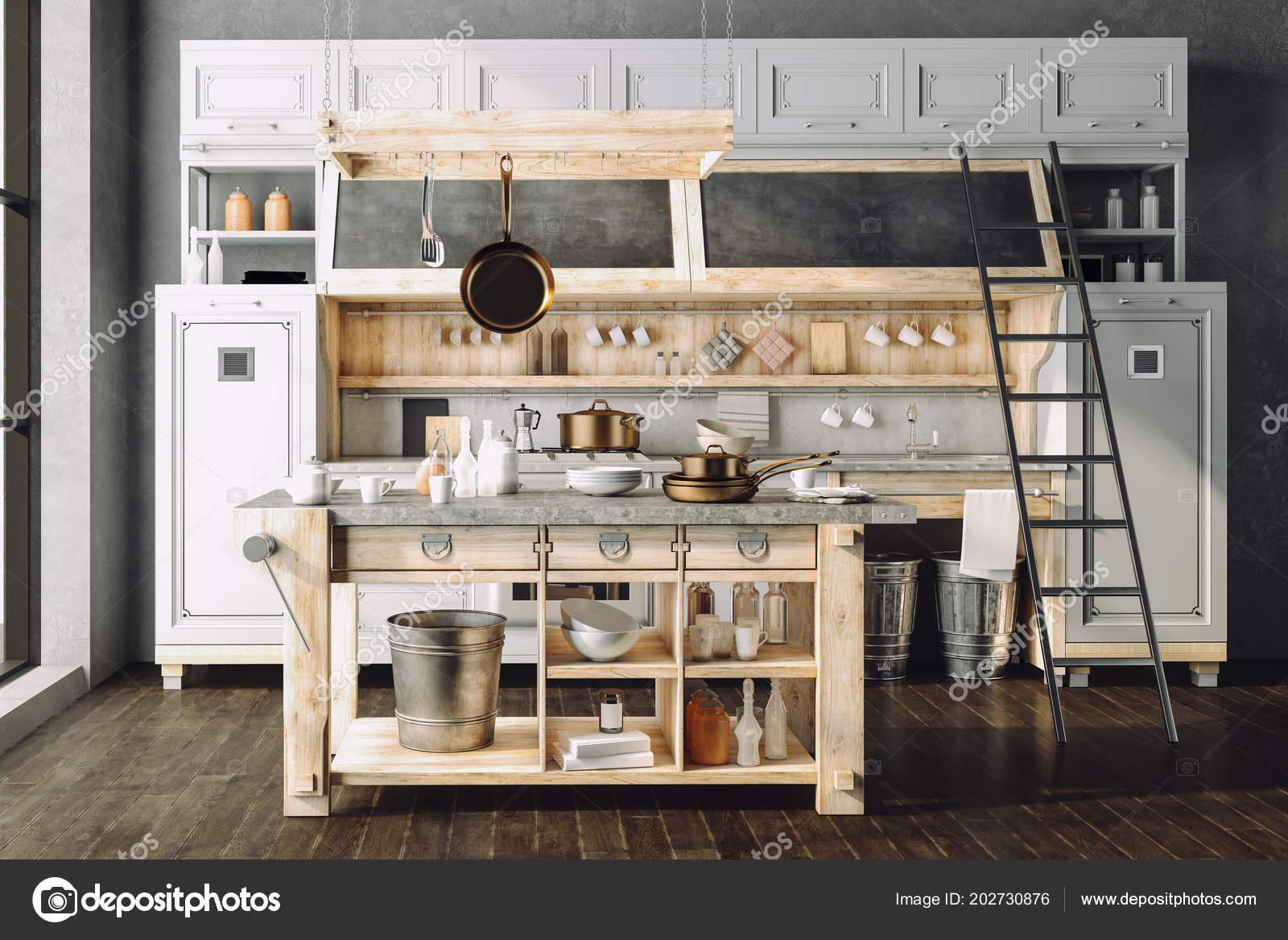 činí Krásné Retro Styl Kuchyně Stock Fotografie