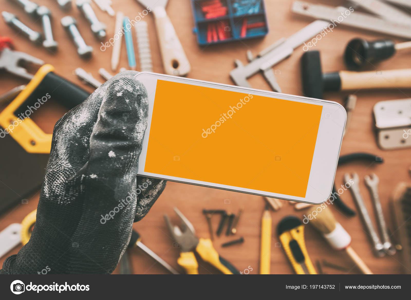 Repairman Smart Phone App Blank Screen Handyman Holding