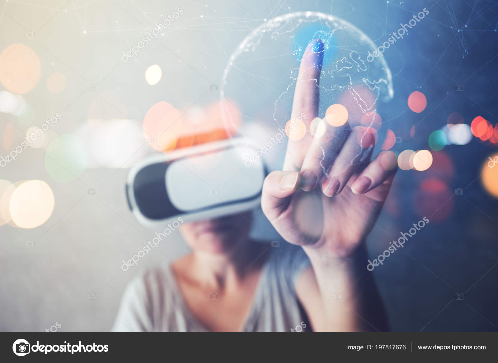 Woman immersed virtual reality pointing sweden scandinavia world map woman immersed virtual reality pointing sweden scandinavia world map female stock photo gumiabroncs Choice Image