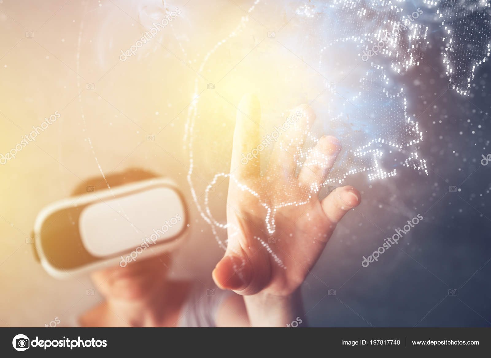 Woman immersed virtual reality pointing north america world map woman immersed virtual reality pointing north america world map female stock photo gumiabroncs Choice Image