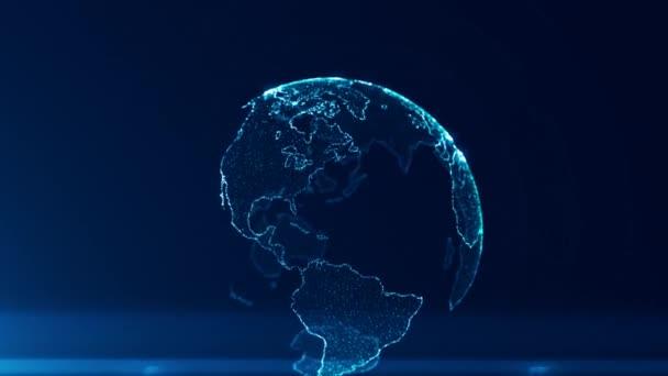 Globale Unternehmensstrategie konzeptioneller Hintergrund, abstrakte Weltkarte der Erde auf dunkelblauem Hintergrund, Animation