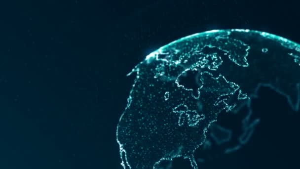 Animated globe rotating, northern hemisphere. Global business, communication and network concept.