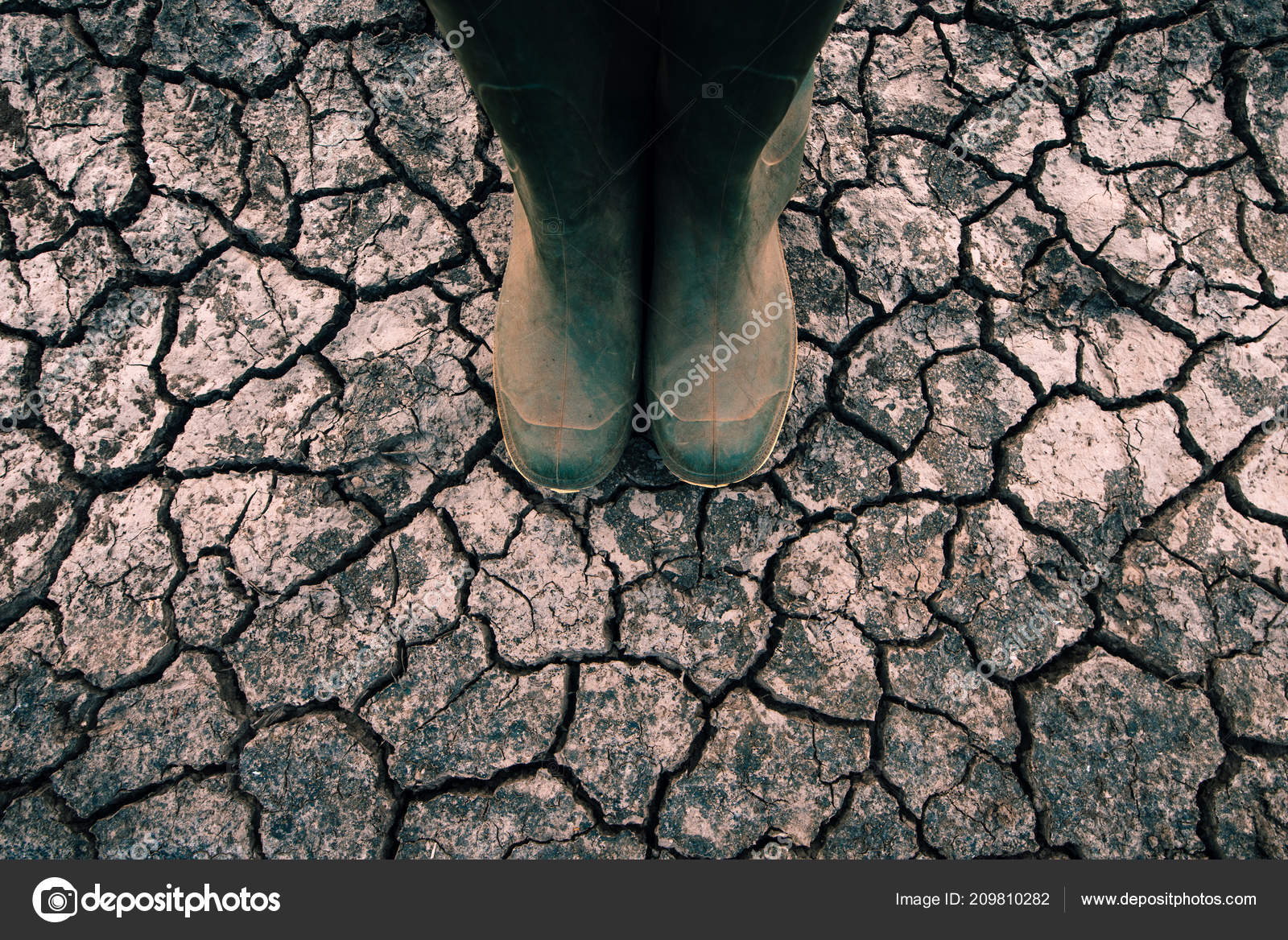 Farmer Rubber Boots Standing Dry Soil Ground Global Warming